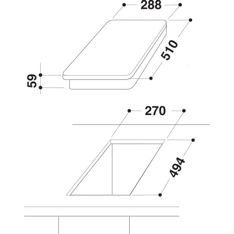 Indesit-HOB-DP-2E--IX--Inox-Solid-Plate-Technical-drawing