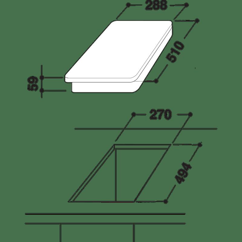 Indesit-HOB-DP-2GS--IX--Inox-GAS-Technical-drawing