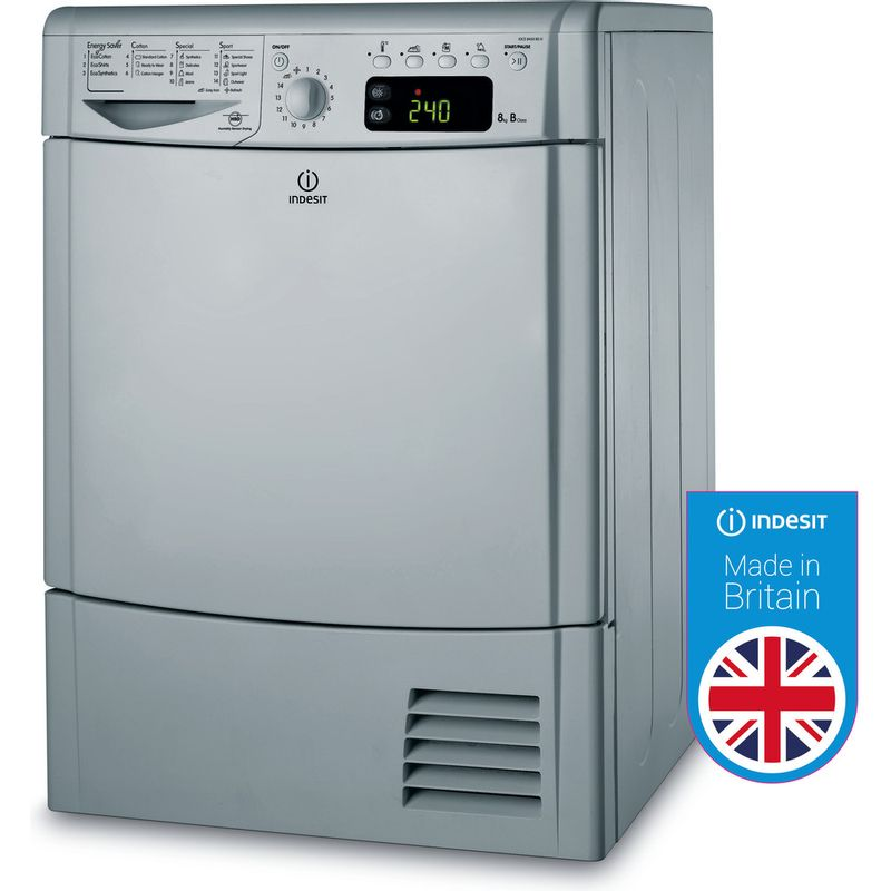 Indesit-Dryer-IDCE-8450-BS-H--UK--Silver-Perspective
