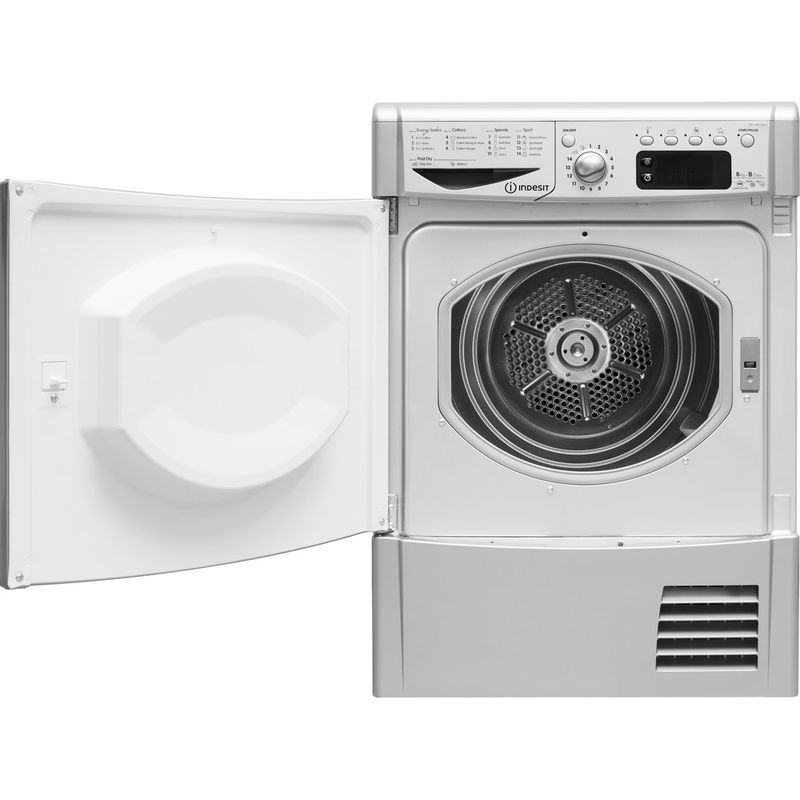 Indesit-Dryer-IDCE-8450-BS-H--UK--Silver-Frontal-open