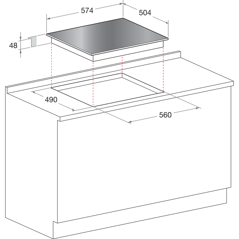 Indesit-HOB-VRB-640-X-Inox-Radiant-vitroceramic-Technical-drawing