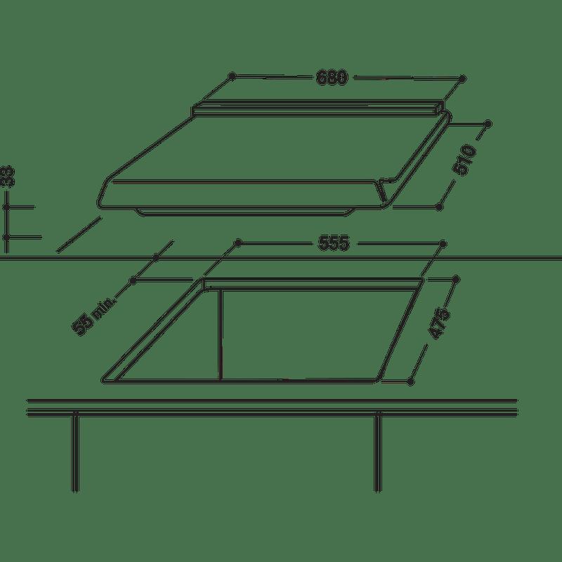 Indesit-HOB-PIM-750-AS--IX--Inox-GAS-Technical-drawing
