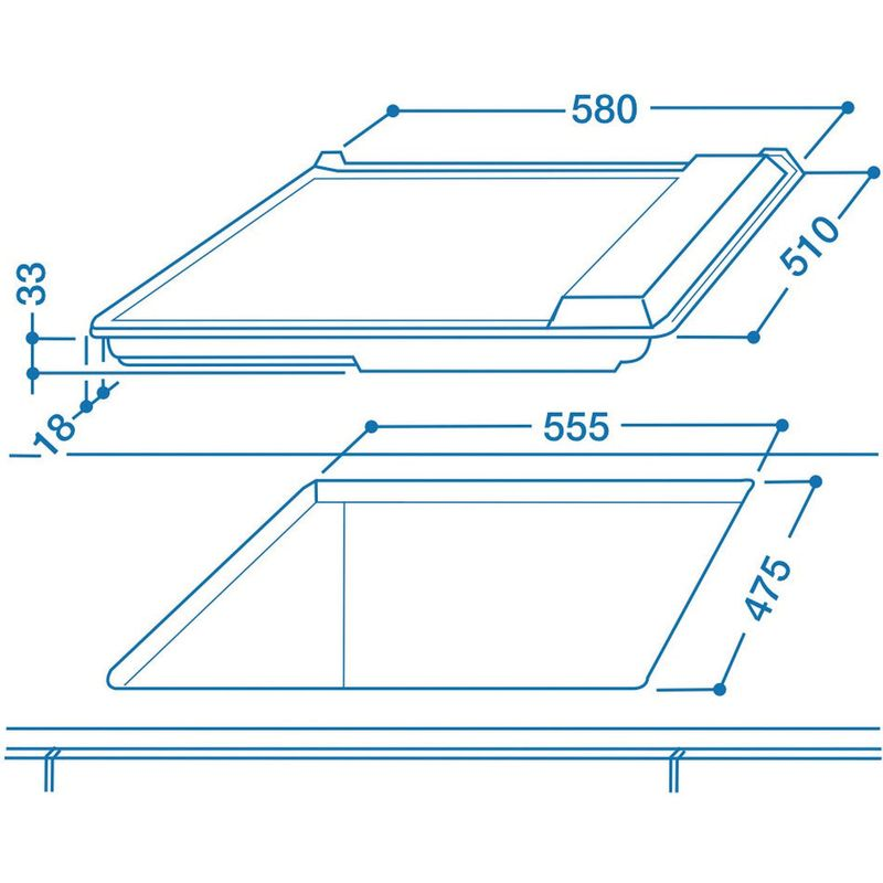 Indesit-HOB-PIM-604--IX--GB-Inox-Solid-Plate-Technical-drawing