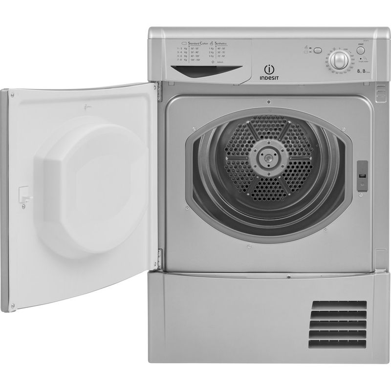Indesit-Dryer-IDC-8T3-B-S--UK--Silver-Frontal-open