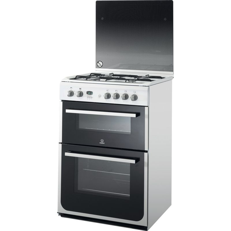 Indesit-Double-Cooker-DD60G2CG-W--UK-White-A--Enamelled-Sheetmetal-Perspective