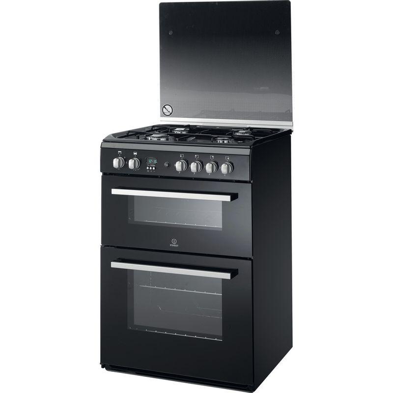Indesit-Double-Cooker-DD60G2CG-K--UK-Black-A--Enamelled-Sheetmetal-Perspective
