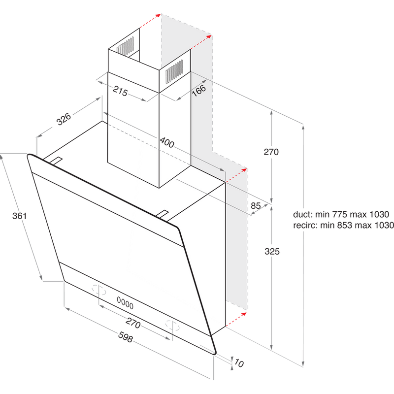 Indesit-HOOD-Built-in-IHVP-6.6-LM-K-Black-Wall-mounted-Mechanical-Technical-drawing