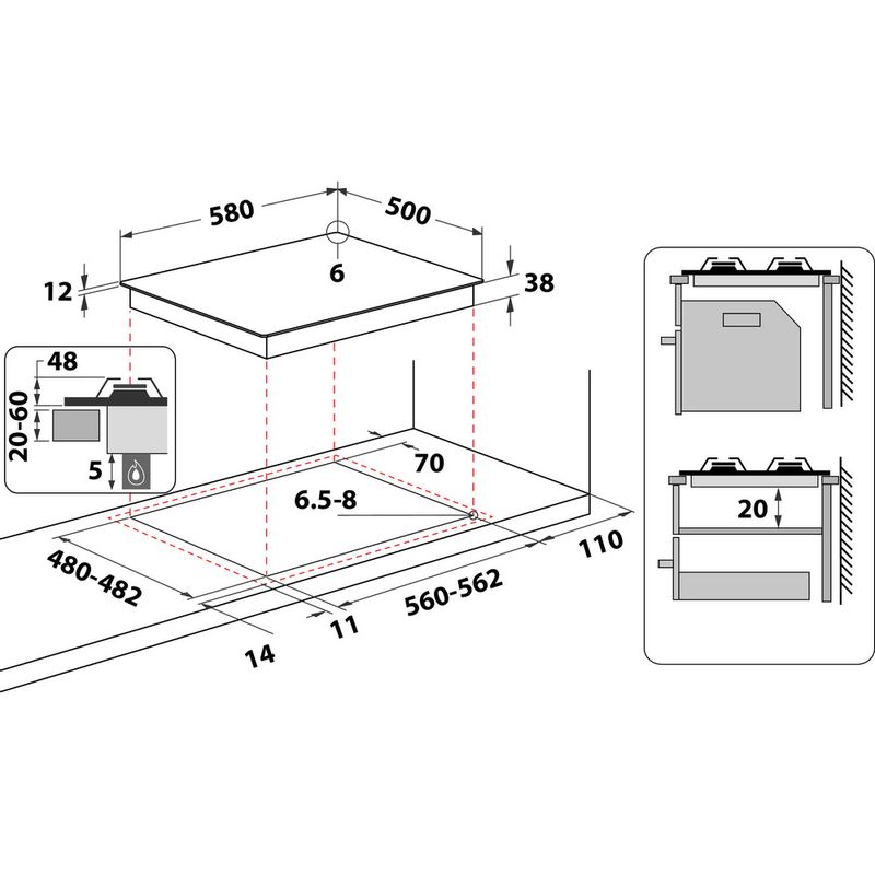 Indesit-HOB-PAA-642--I-BK--Black-GAS-Technical-drawing