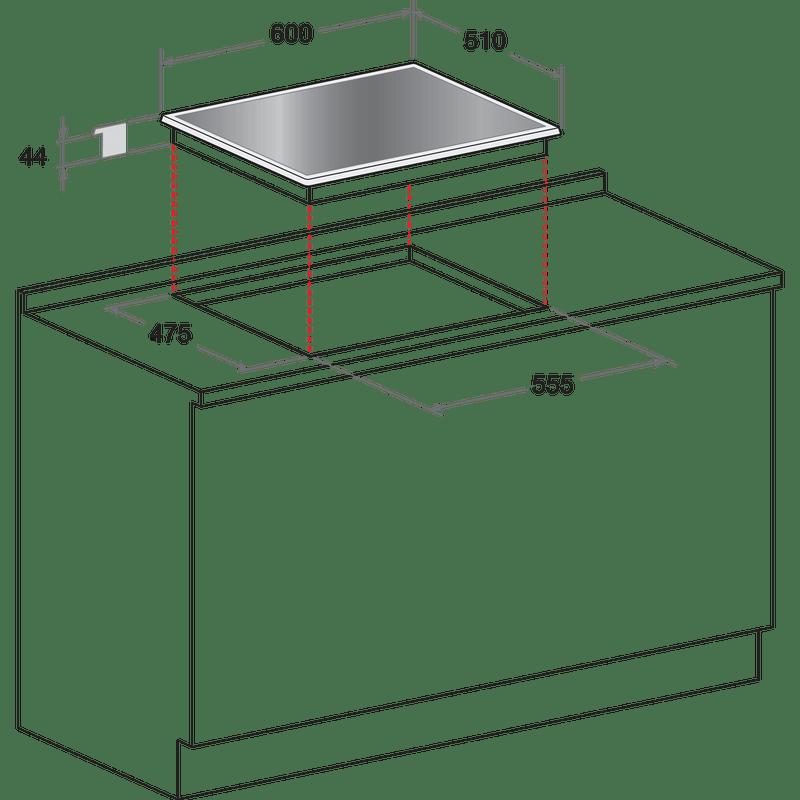 Indesit-HOB-PR-642--I-BK--UK-Black-GAS-Technical-drawing