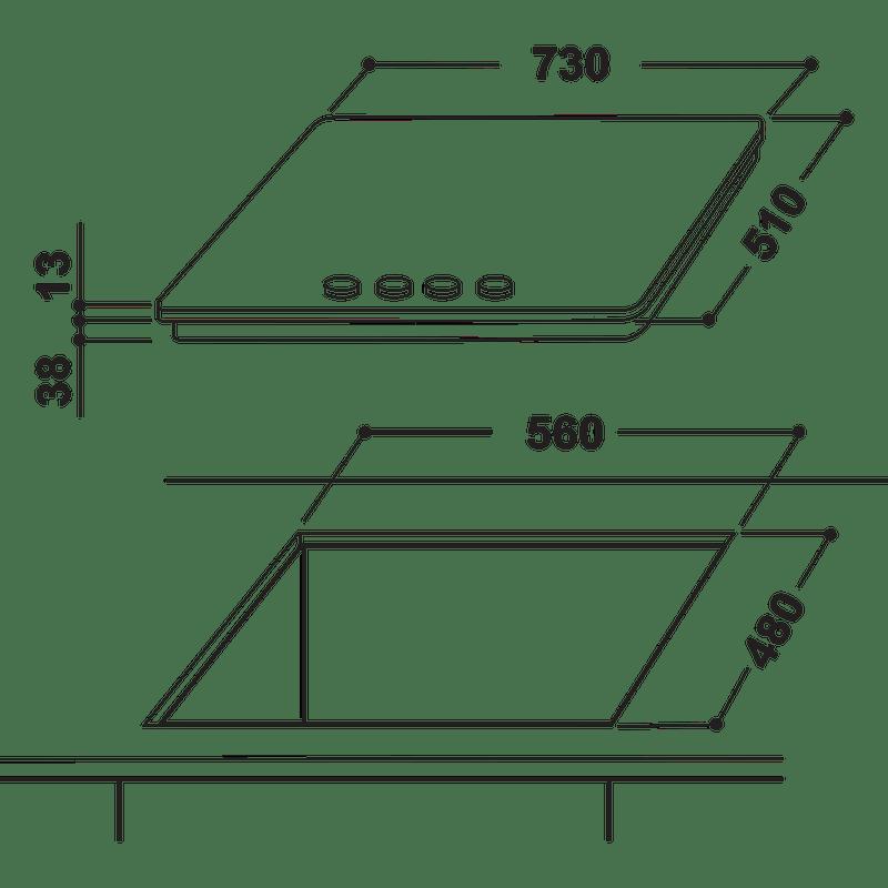 Indesit-HOB-THA-752-IX-I-Inox-GAS-Technical-drawing
