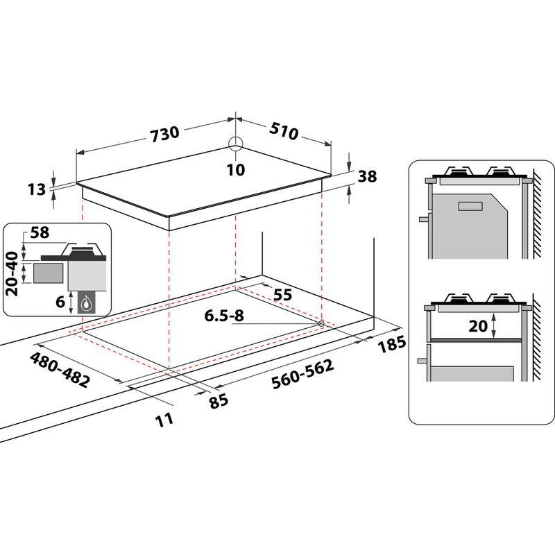 Indesit-HOB-THP-751-W-IX-I-Inox-GAS-Technical-drawing