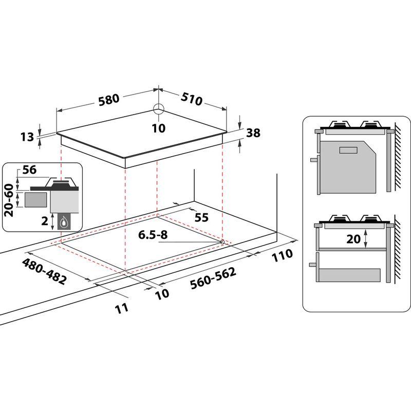 Indesit-HOB-THP-641-W-IX-I-Inox-GAS-Technical-drawing