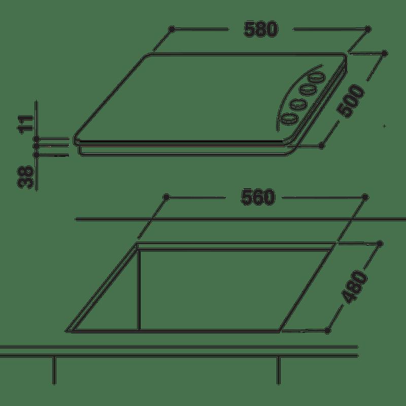 Indesit-HOB-PAA-642--I-BK--UK-Black-GAS-Technical-drawing