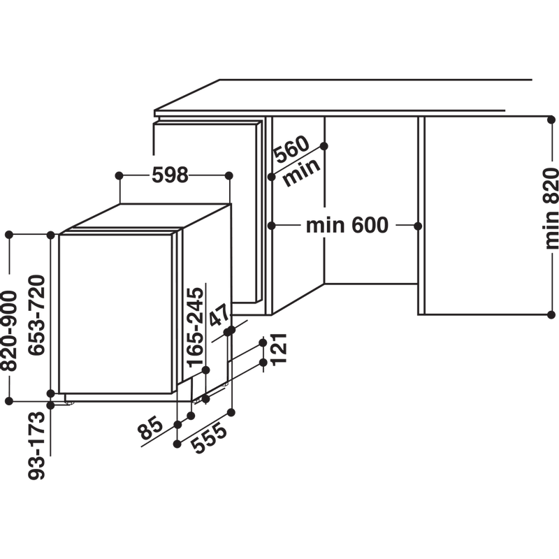 Indesit-Dishwasher-Built-in-DIFM-16B1-UK-Full-integrated-A-Technical-drawing