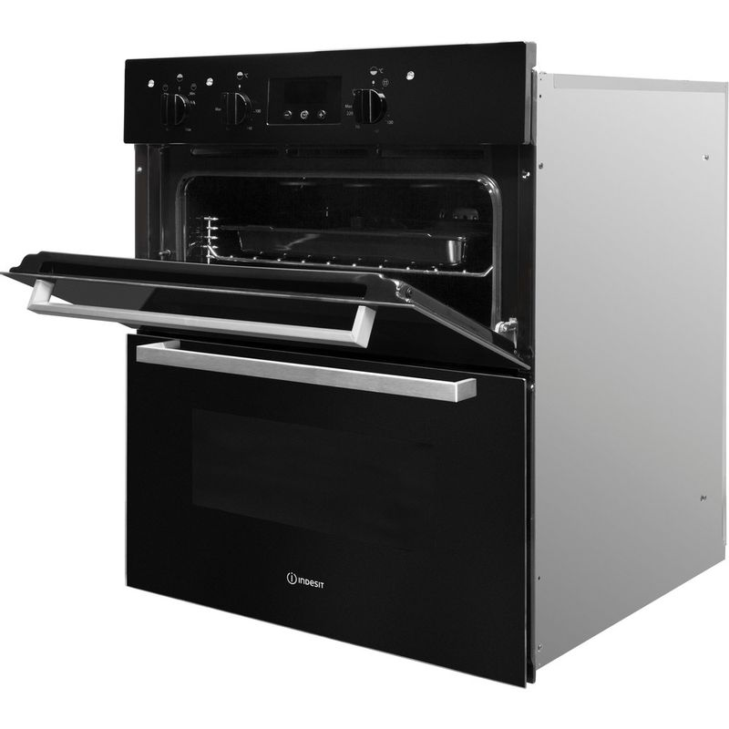 Indesit-Double-oven-IDU-6340-BL-Black-B-Perspective-open