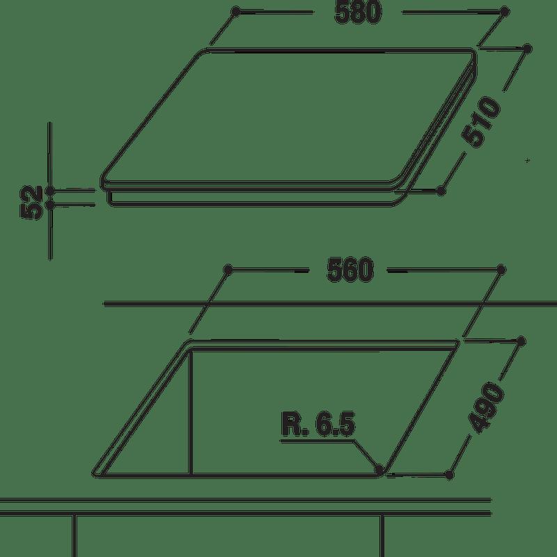 Indesit-HOB-VIS-640-C-Black-Induction-vitroceramic-Technical-drawing
