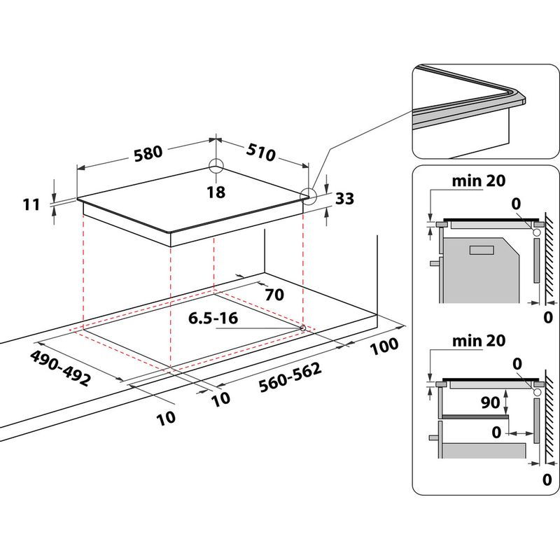 Indesit-HOB-TI-60-X-Inox-Solid-Plate-Technical-drawing