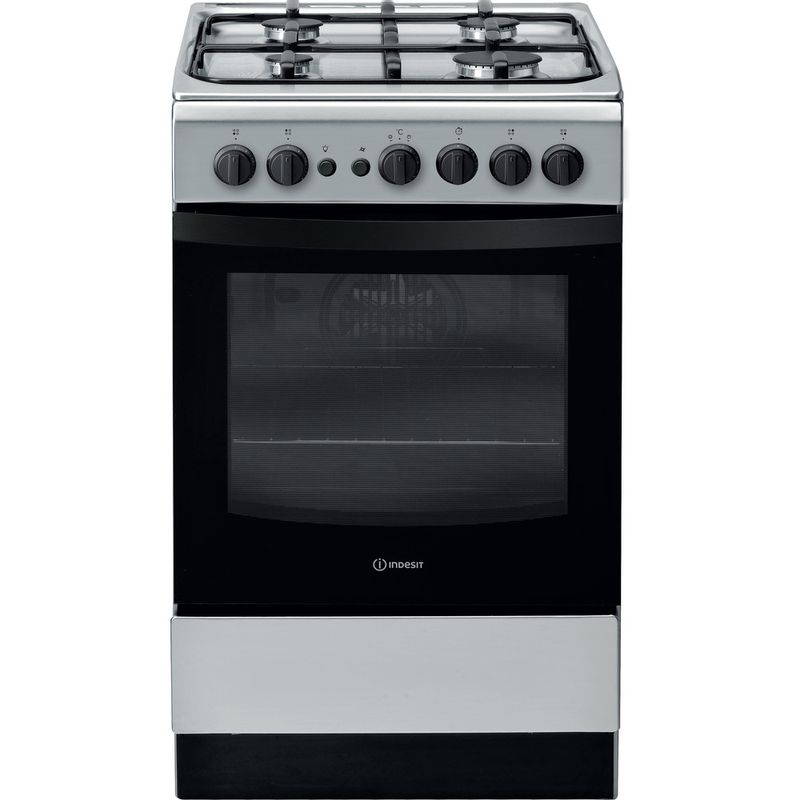 Indesit-Cooker-IS5G1PMSS-UK-Silver-painted-GAS-Frontal