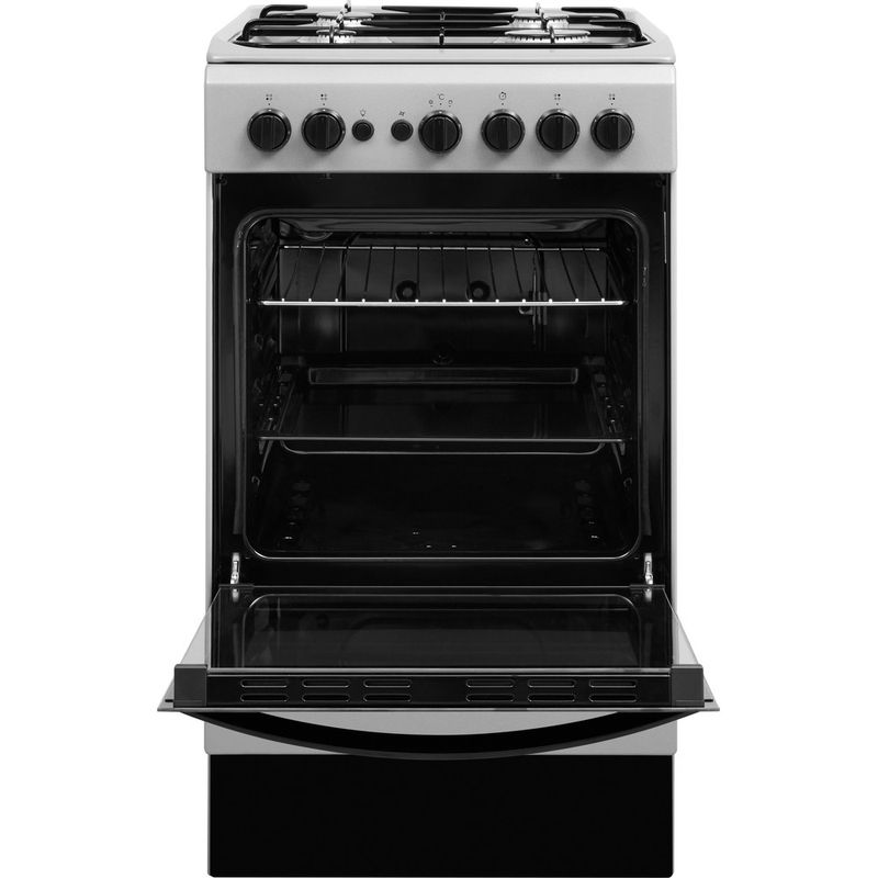 Indesit-Cooker-IS5G1PMSS-UK-Silver-painted-GAS-Frontal-open