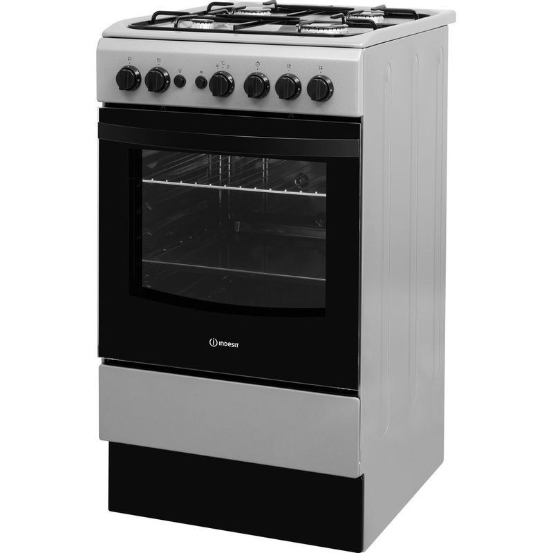 Indesit-Cooker-IS5G1PMSS-UK-Silver-painted-GAS-Perspective