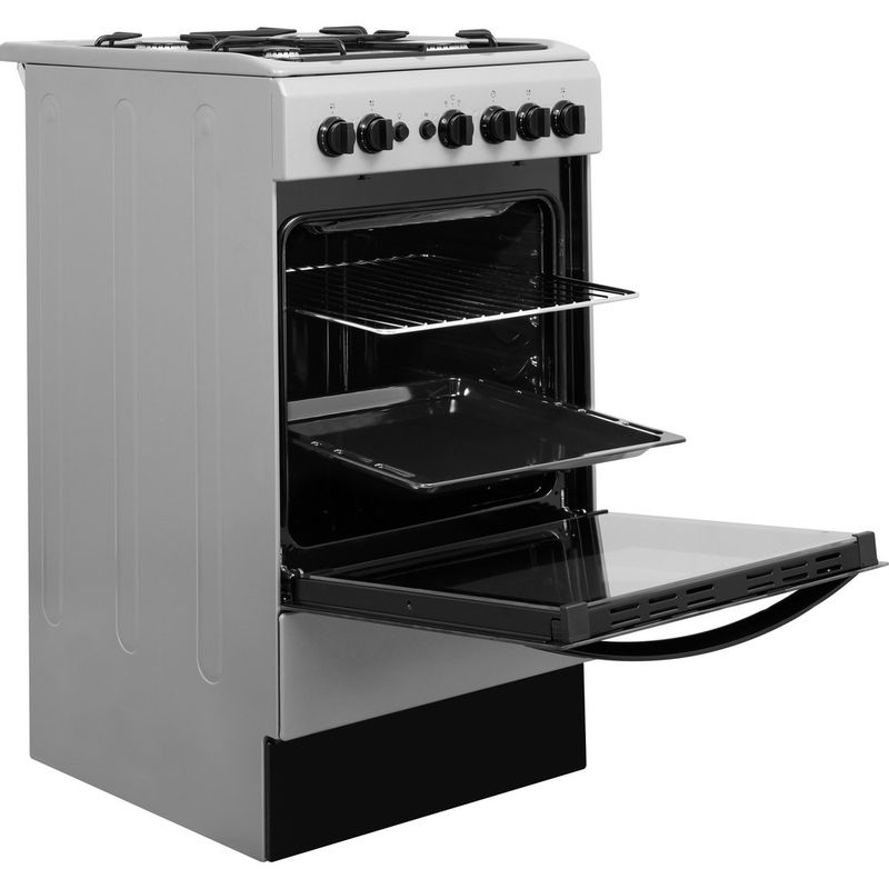 Indesit-Cooker-IS5G1PMSS-UK-Silver-painted-GAS-Perspective-open