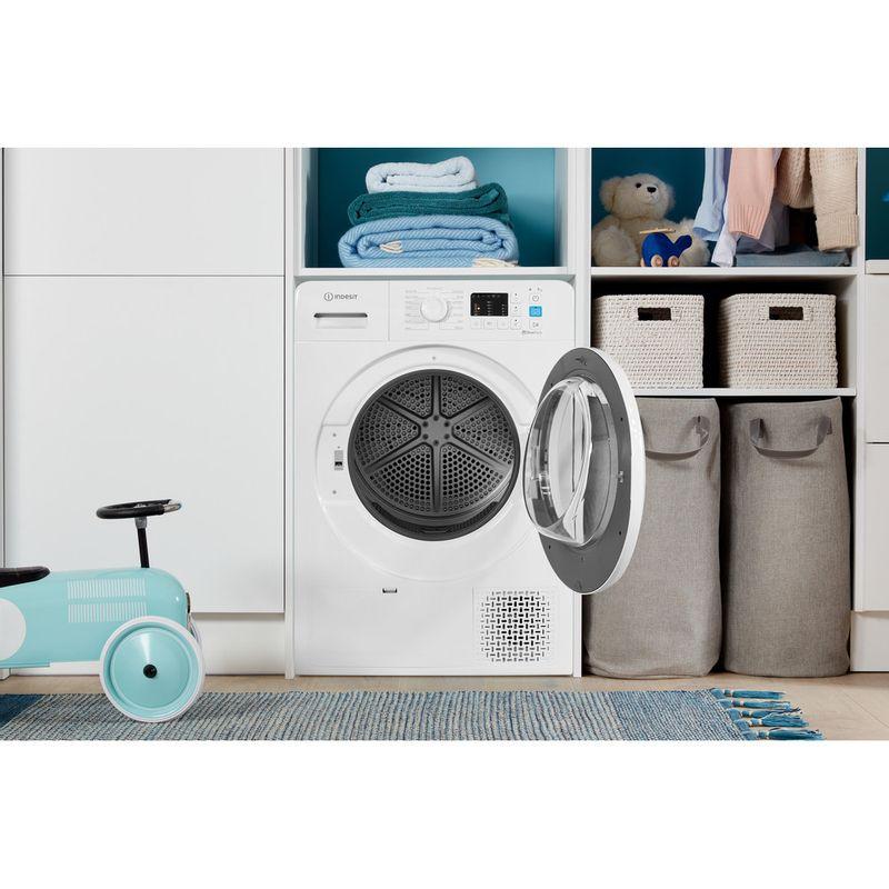 Indesit-Dryer-YT-M10-71-R-UK-White-Lifestyle-frontal-open