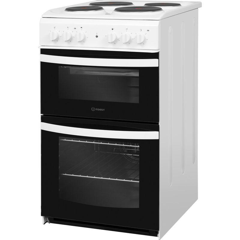 Indesit-Double-Cooker-ID5E92KMW-UK-White-A-Enamelled-Sheetmetal-Perspective