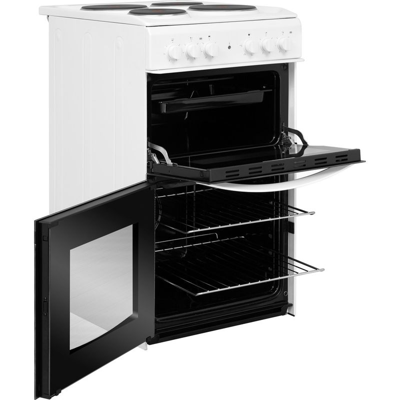 Indesit-Double-Cooker-ID5E92KMW-UK-White-A-Enamelled-Sheetmetal-Perspective-open