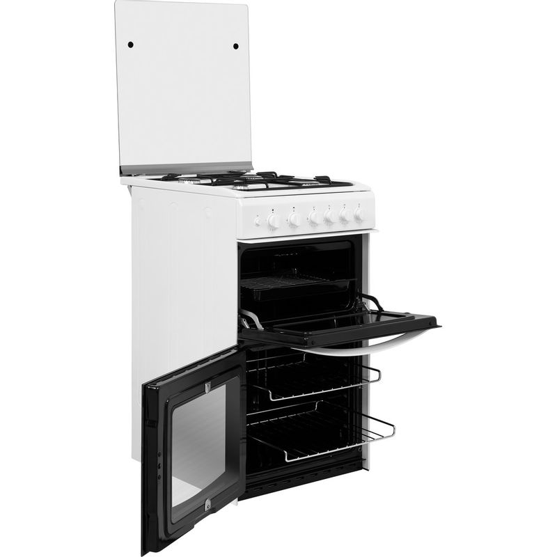Indesit-Double-Cooker-ID5G00KMW-UK--L-White-A--Enamelled-Sheetmetal-Perspective-open