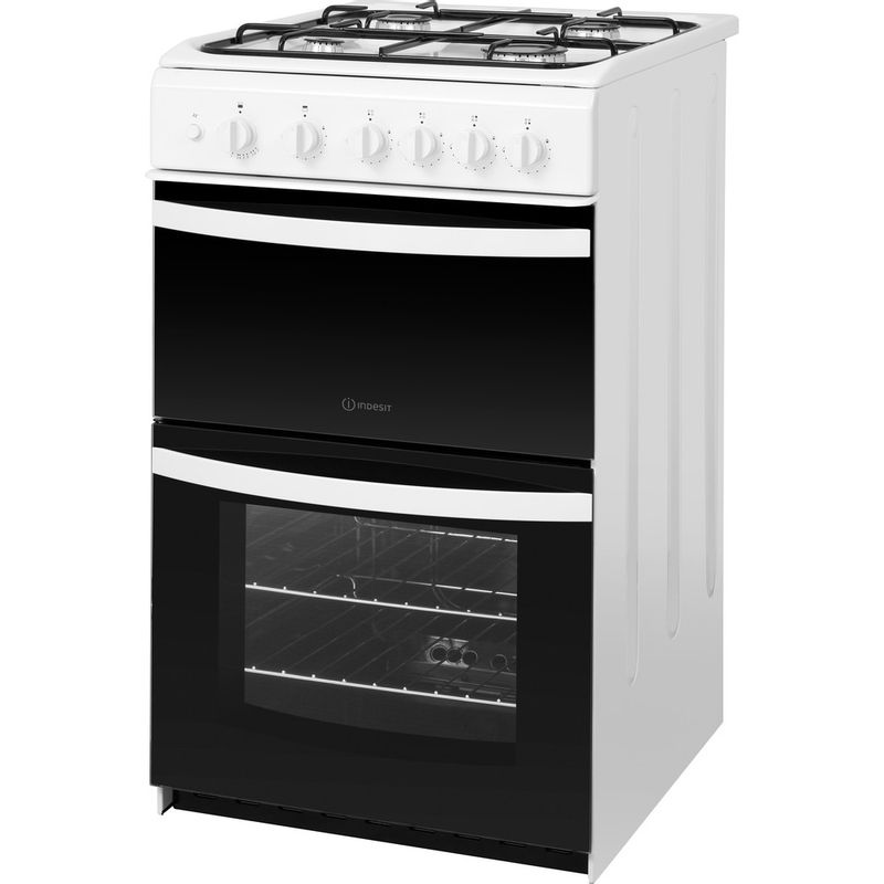 Indesit-Double-Cooker-ID5G00KMW-UK-White-A--Enamelled-Sheetmetal-Perspective