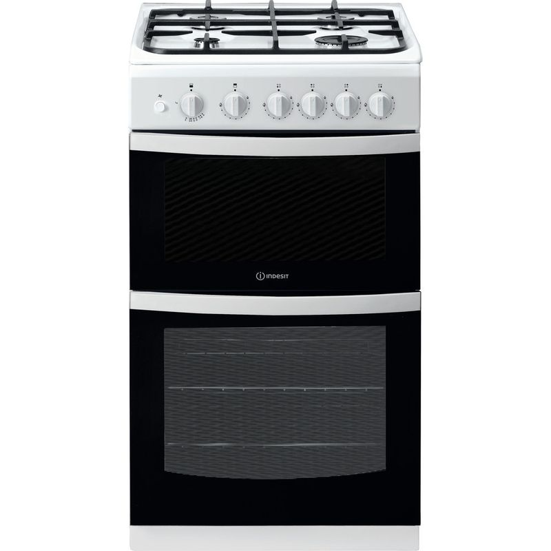 Indesit-Double-Cooker-ID5G00KCW-UK-White-A--Enamelled-Sheetmetal-Frontal