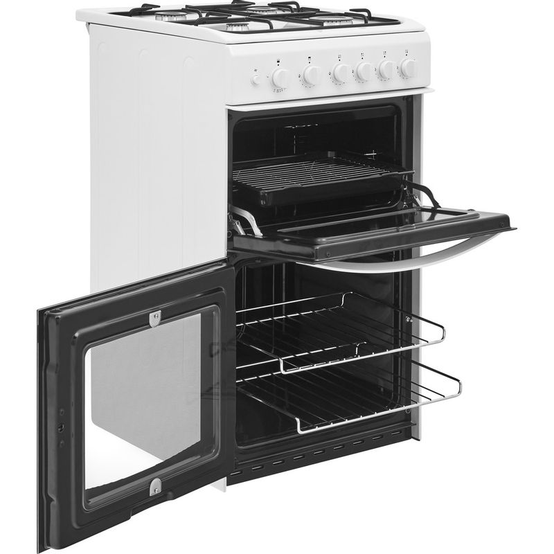 Indesit-Double-Cooker-ID5G00KCW-UK-White-A--Enamelled-Sheetmetal-Perspective-open