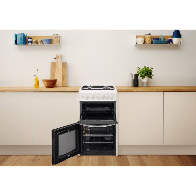 Indesit-Double-Cooker-ID5G00KCW-UK-White-A--Enamelled-Sheetmetal-Lifestyle-frontal-open