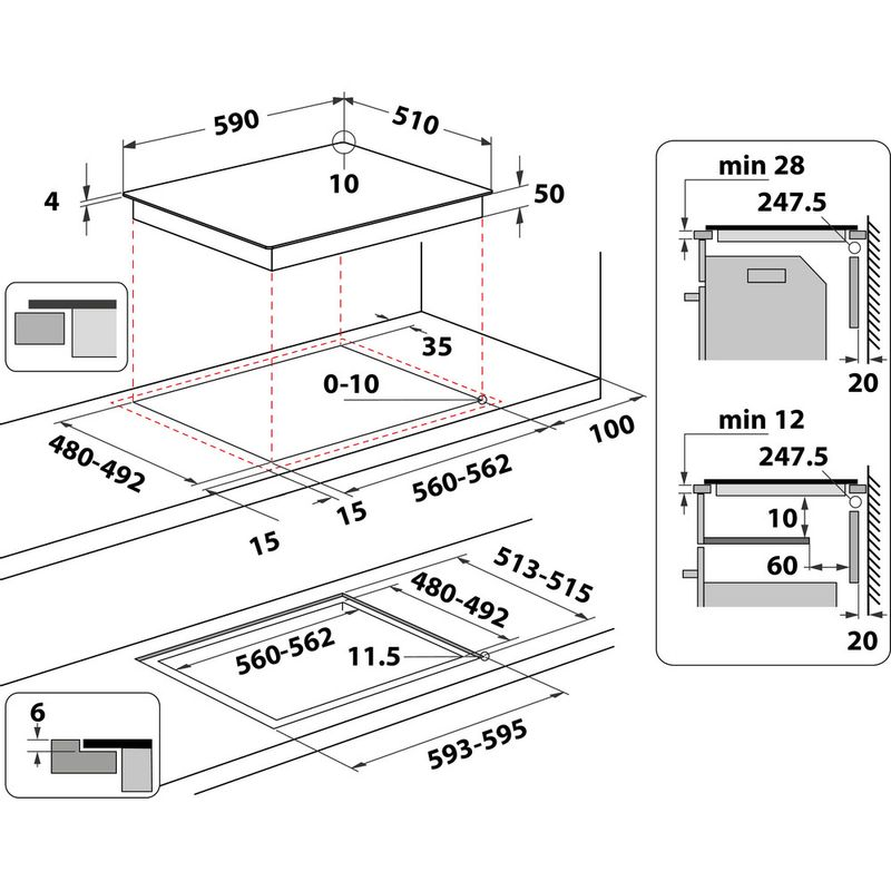 Indesit-HOB-IB-88B60-NE-Black-Induction-vitroceramic-Technical-drawing