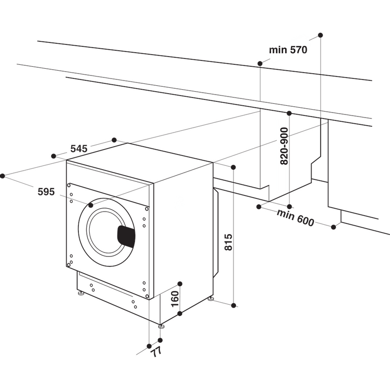 Indesit-Washing-machine-Built-in-BI-WMIL-91484-UK-White-Front-loader-C-Technical-drawing