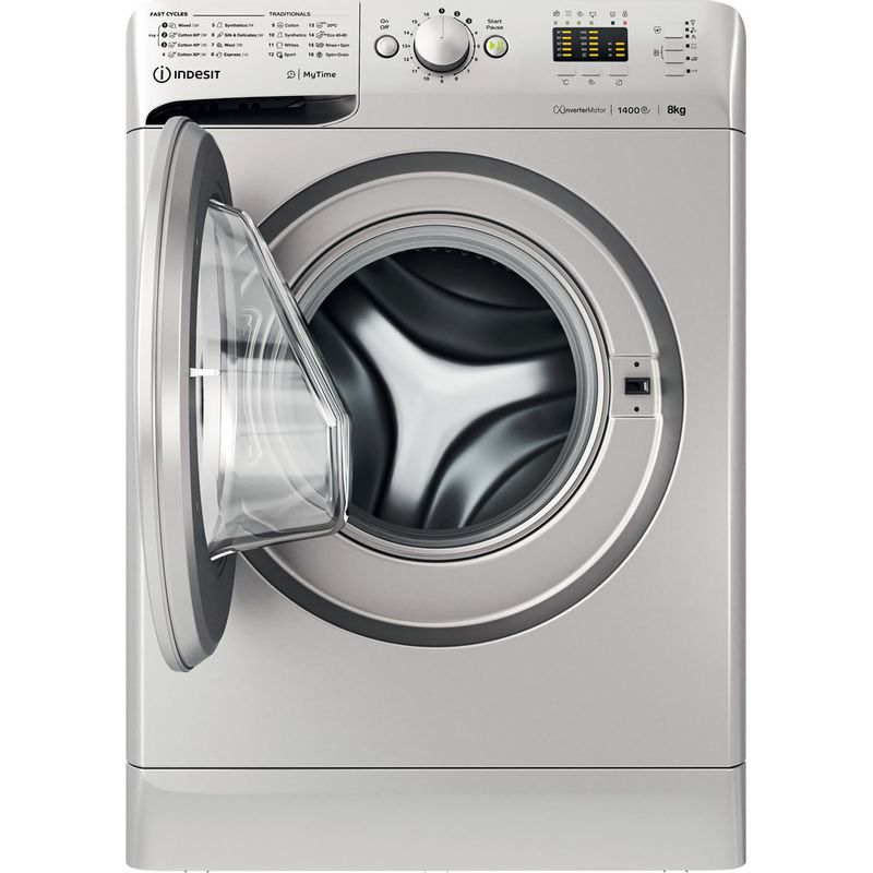 Indesit-Washing-machine-Free-standing-MTWA-81483-S-UK-Silver-Front-loader-D-Frontal-open