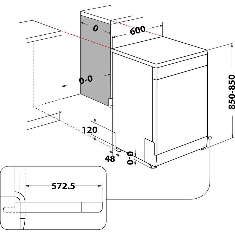 Indesit-Dishwasher-Free-standing-DFE-1B19-UK-Free-standing-F-Technical-drawing