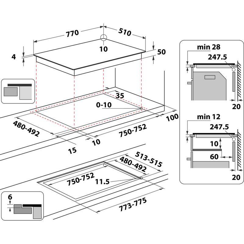 Indesit-HOB-IB-21B77-NE-Black-Induction-vitroceramic-Technical-drawing