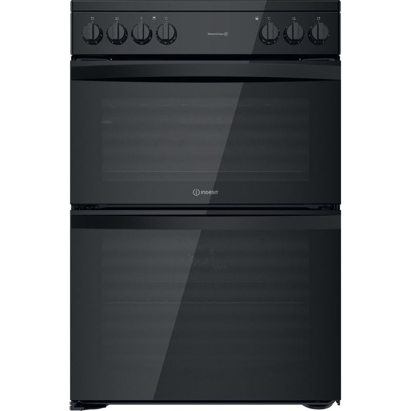 Indesit-Double-Cooker-ID67V9KMB-UK-Black-A-Frontal