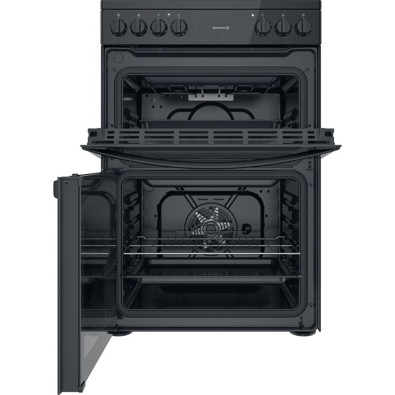 Indesit-Double-Cooker-ID67V9KMB-UK-Black-A-Frontal-open