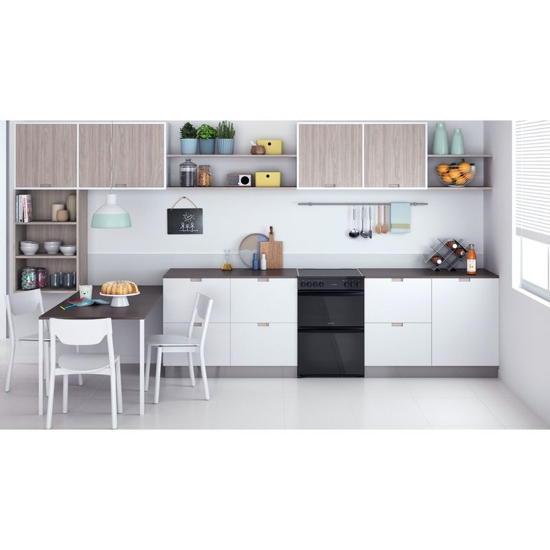 Indesit-Double-Cooker-ID67V9KMB-UK-Black-A-Lifestyle-frontal