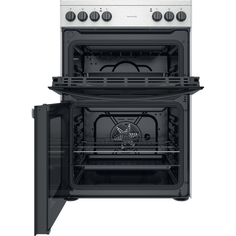 Indesit-Double-Cooker-ID67V9HCCX-UK-Inox-A-Frontal-open