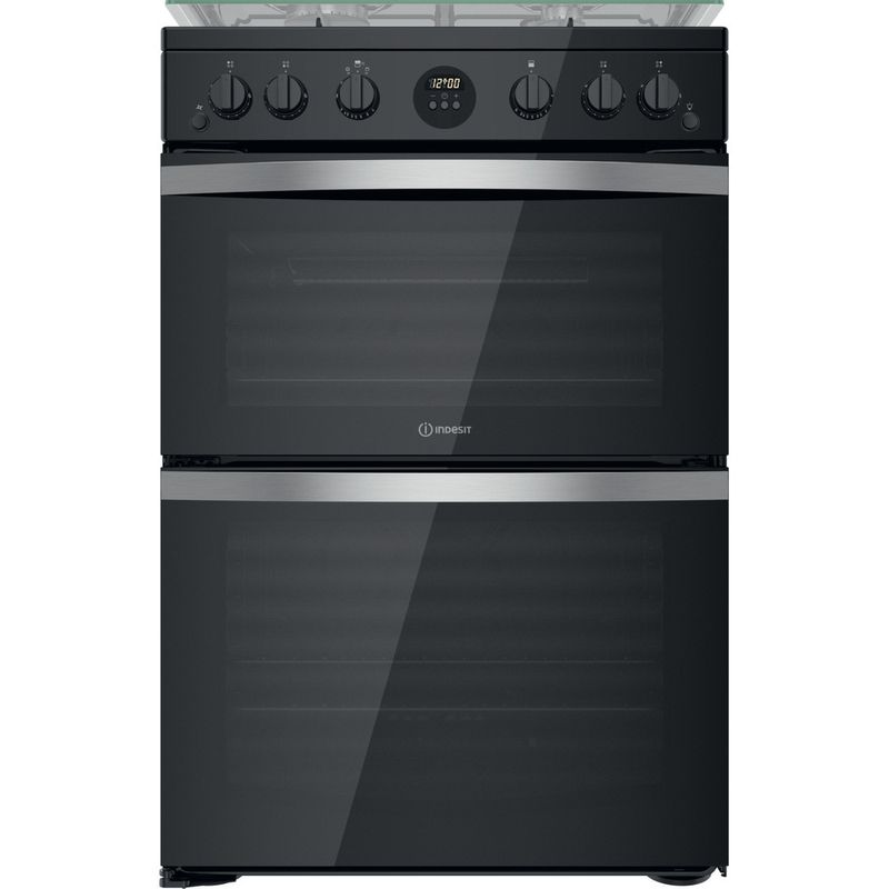 Indesit-Double-Cooker-ID67G0MCB-UK-Black-A--Frontal