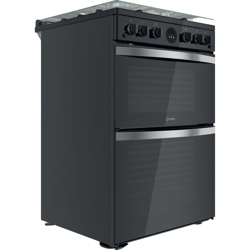 Indesit-Double-Cooker-ID67G0MCB-UK-Black-A--Perspective