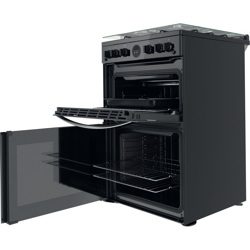 Indesit-Double-Cooker-ID67G0MCB-UK-Black-A--Perspective-open