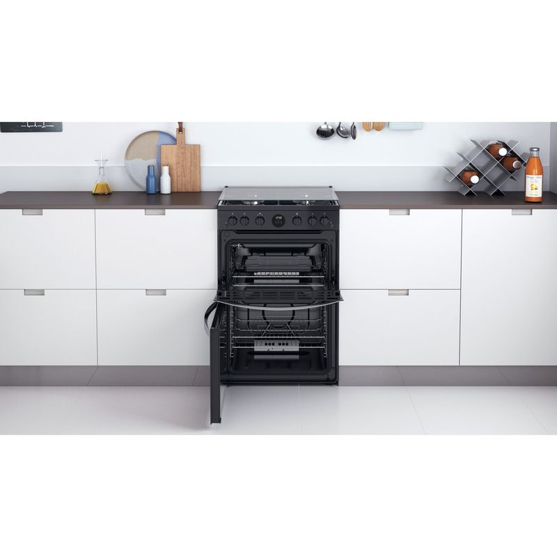 Indesit-Double-Cooker-ID67G0MCB-UK-Black-A--Lifestyle-frontal-open