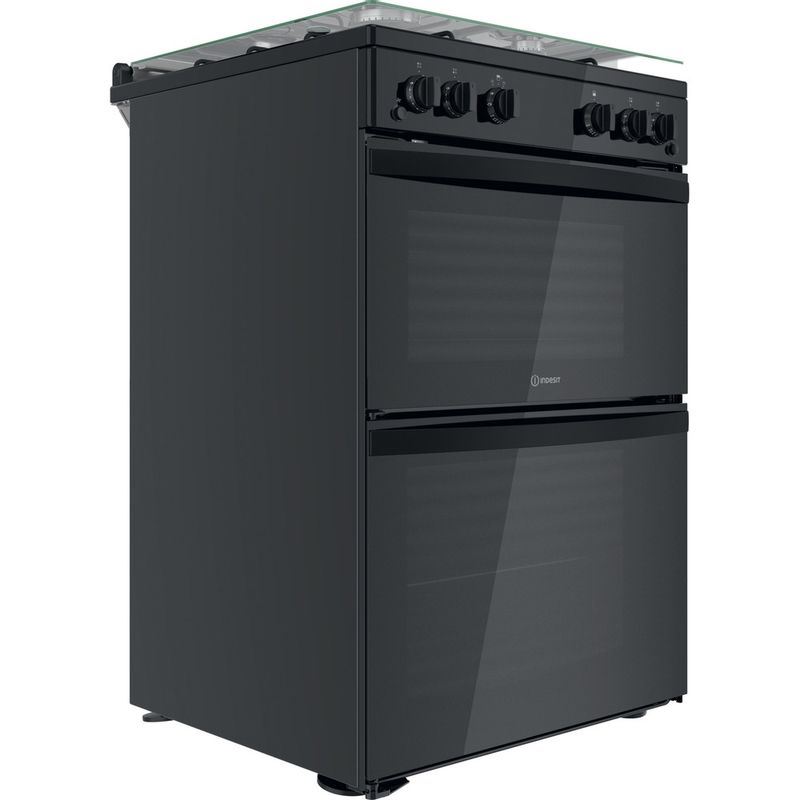 Indesit-Double-Cooker-ID67G0MMB-UK-Black-A--Perspective