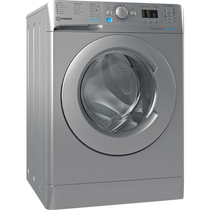 Indesit-Washing-machine-Free-standing-BWA-81483X-S-UK-N-Silver-Front-loader-D-Perspective