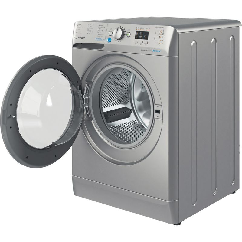 Indesit-Washing-machine-Free-standing-BWA-81483X-S-UK-N-Silver-Front-loader-D-Perspective-open
