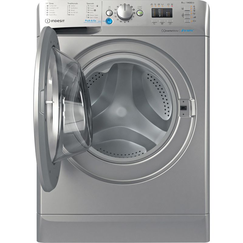 Indesit-Washing-machine-Free-standing-BWA-81483X-S-UK-N-Silver-Front-loader-D-Frontal-open
